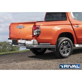 Защита заднего бампера d76+d57 уголки Rival для Mitsubishi L200 2019- (R.4016.006)
