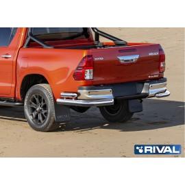 Защита заднего бампера d76+d57 уголки Rival для Toyota Hilux Exclusive 2018 (R.5722.006)