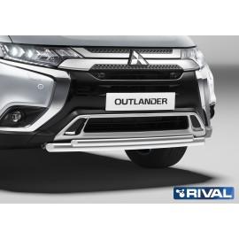 Защита переднего бампера d57+d42 Rival для Mitsubishi Outlander 2019- (R.4010.002)