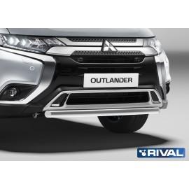 Защита переднего бампера d57 короткая Rival для Mitsubishi Outlander 2019- (R.4010.003)