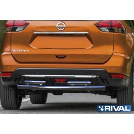 Защита заднего бампера d57 + d42 Rival для Nissan X-Trail 2018- (R.4125.005)