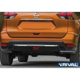 Защита заднего бампера d42 уголки Rival для Nissan X-Trail 2018- (R.4125.006)