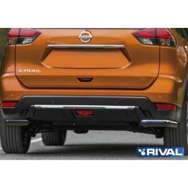 Защита заднего бампера d57 уголки Rival для Nissan X-Trail 2018- (R.4125.007)