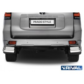 Защита заднего бампера d76+d42 уголки Rival для Toyota Land Cruiser Prado Style (R.5723.005)