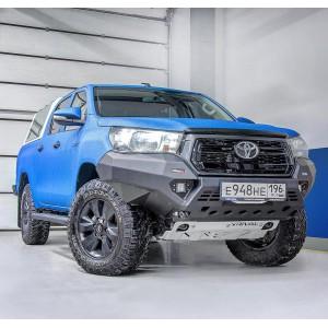Бампер силовой Rival передний алюминиевый для Toyota Hilux Revo (Exclusive) 2018- (черный, без ПТФ)