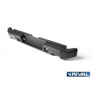 Бампер силовой Rival задний алюминиевый для Toyota HiLux с 2011- (черный, без ПТФ)