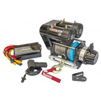 Лебёдка электрическая 12V Runva 10000 lbs 4500 кг 2-х моторная (синтетический трос)