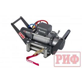 Лебёдка переносная РИФ 10000S c площадкой в квадрат для фаркопа и проводами (стальной трос)