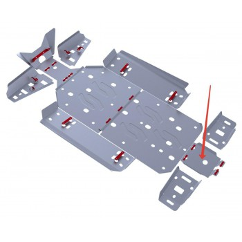 Защита заднего редуктора Rival для Polaris UTV RZR S 800 2011-2014, 4.7402.1-4