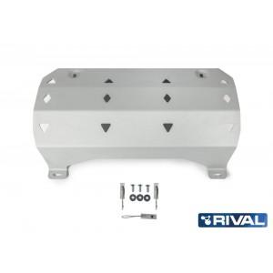 Защита глушителя + комплект крепежа, Rival, Алюминий, Jeep Wrangler 2018-, V-2.0T, 3.6 2333.2750.1.6