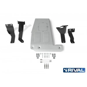 Защита картера + комплект крепежа, Rival, Алюминий, Jeep Wrangler JL 2018-, V-2.0T; 3,6 2333.2744.1.6
