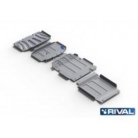 Защита радиатора, картера, КПП и РК Rival для Mercedes-Benz X-Class 4WD 2018-н.в., алюминий 6 мм, с крепежом, K333.3943.1.6